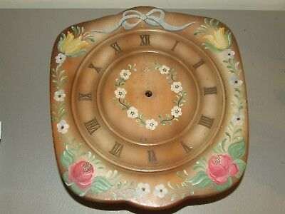 Antique Hand Painted Walnut Wag On Wall German Mid Century Mechanical Wall Clock