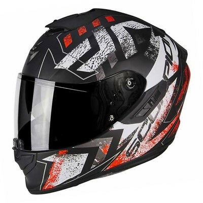 Scorpion Exo 1400 Picta Matt Black Red White Mens Full Face Motorcycle Helmet