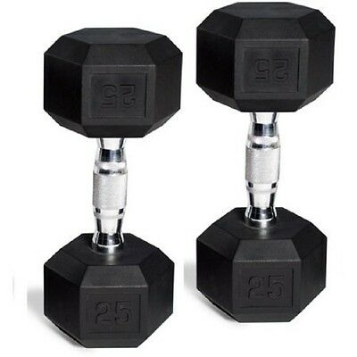 CAP Barbell Rubber-Coated Hex Dumbbells Weights Pair Black Iron Gym Set of 2...