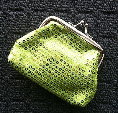 "GLITZY SEQUINS ""Lime Green"" Novelty Fashion Coin Purse Money Bag Pouch *NEW*"