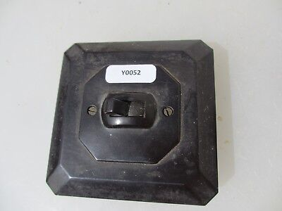Vintage Bakelite Light Switch Square Plate Art Deco Antique Brown Old Square