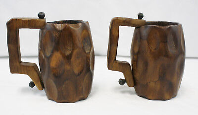 Vintage Rustic Hand Carved Wood Wooden Tavern Drinking Cups Mugs - Made in Spain