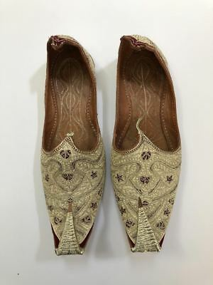 VTG gold Embroidered Khussa India Turkish Leather Shoes Persian Slippers Mens M