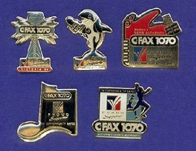Collection of 5 CFAX 1070 AM Radio Microphone Tower Killer Whale + Lapel Pins