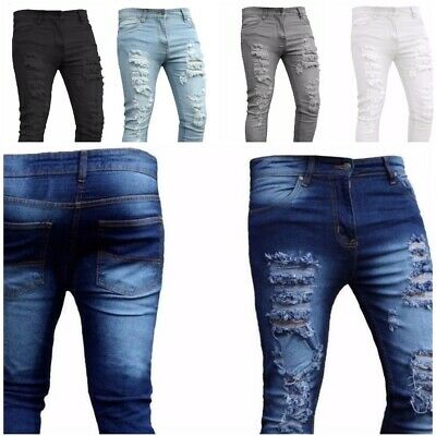 Mens Skinny Jeans Ripped style Slim fit Stretch Denim Distress Frayed Biker Jean