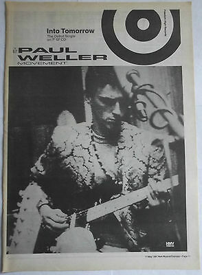 PAUL WELLER MOVEMENT Poster-Size Music Press ADVERT from NME 1991 Into Tomorrow