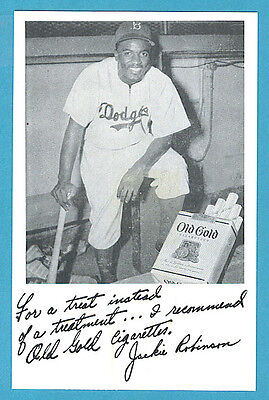 Jackie Robinson Old Gold Cigarettes Postmarked Postcard Reprint