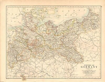 1887 Large Antique Map- Johnston, Empire of Germany, Northern Portion