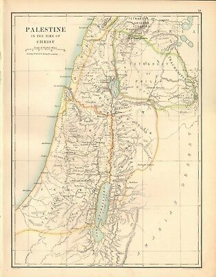 1887 Large Antique Map- Johnston, Palestine in the time of Christ