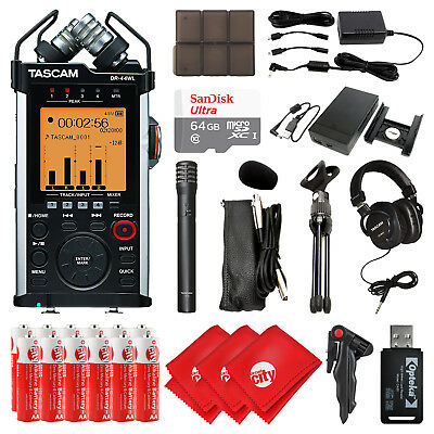 TASCAM Handheld Recorder w/ Mic, Headset, 64GB SD Card and Bundle (DR-44WL)
