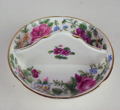 Divided Trinket Candy Dish Crown Staffordshire Pansies Roses flowers England