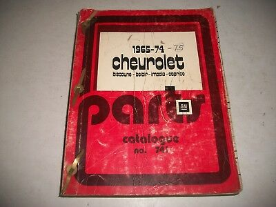 Original 1965-1974 Chevrolet Car Illustrated Master Parts Catalog Impala Caprice