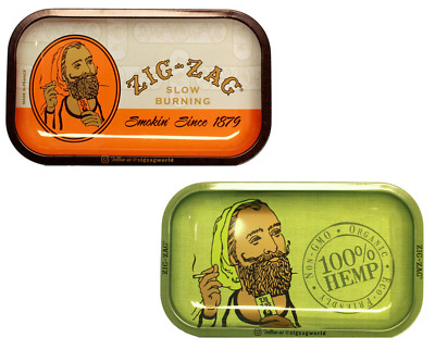 Zig-Zag Metal Rolling Tray - 2 TRAYS - 11x7 Classic Orange Green MIX MATCH