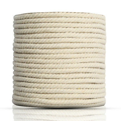 7mm x 87m Natural Beige White Twisted 100% Pure Cotton Cord Rope