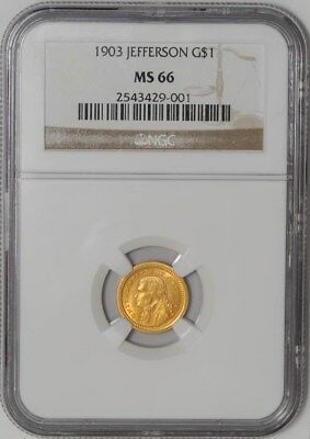 1903 $ Gold Jefferson Dollar MS66 NGC