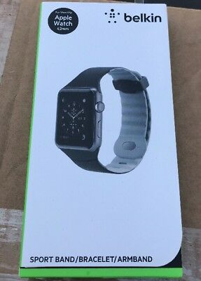 New/Sealed! Belkin Silicone Sport Band For Apple Watch 42mm - Black / Gray*