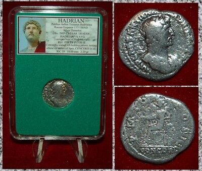 Ancient Roman Empire Coin HADRIAN Concordia On Reverse Silver Denarius