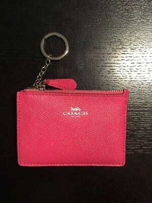 Coach F12186 SV/MJ Magenta Pink Skinny Crossgrain Leather ID Keyring Coin Purse