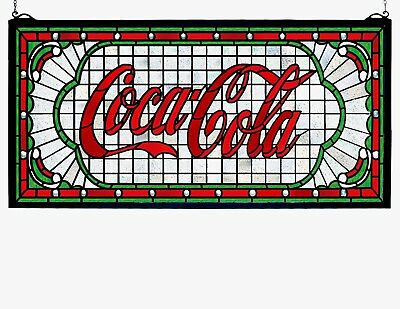 "Meyda Lighting Stained Glass Window 25""W X 12""H Coca-Cola Victorian Web Decor"