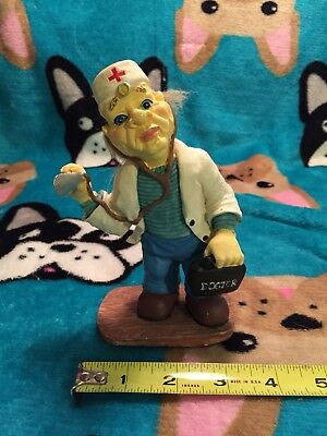 Vintage Doctor Figurine Medical Physician Listening Stethoscope Real Hair Rare