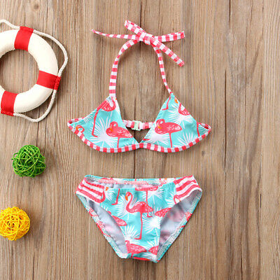 Toddler Kid Baby Girl Flamingo Tankini Swimwear Swimsuit Bikini Set Bathing Suit