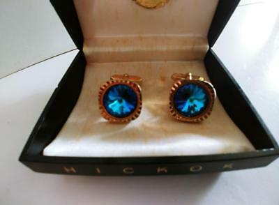 Stunning Vintage boxed Hickok Cufflinks * Gold tone with blue Rivoli Cuff Links