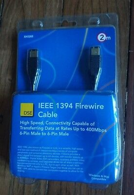 DSE 2M IEEE 1394 FIREWIRE CABLE (NEW IN BOX) 6-PIN MALE TO 6-PIN MALE 400Mbps