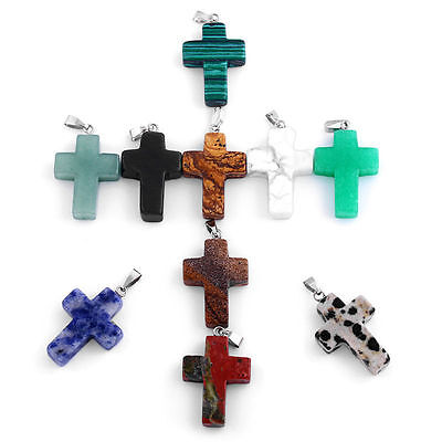 10pcs Natural Stone Cross Silver Charm Pendant 20mmx25mm Fit DIY Necklace craft