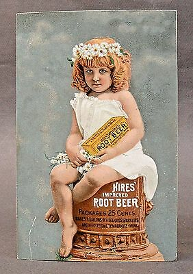 1880's HIRES ROOT BEER young girl on pedestal Victorian Trade Card high grade *
