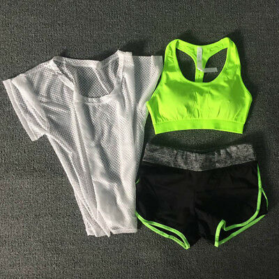 Women Ladies Sports Cover Tops Fitness Exercise Gym Yoga Bra Shorts 3PCS SET