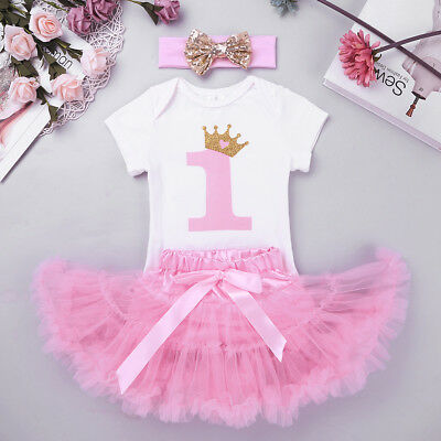 7f80c2be1a5c 3PCS Baby Girls 1st Birthday Party Romper Tulle Skirt Headband Dress Outfit  Set