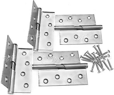 """Pair of 4"""" Rising Butt Left/Right Handed Lift Off Door Hinge Stainless Steel"""