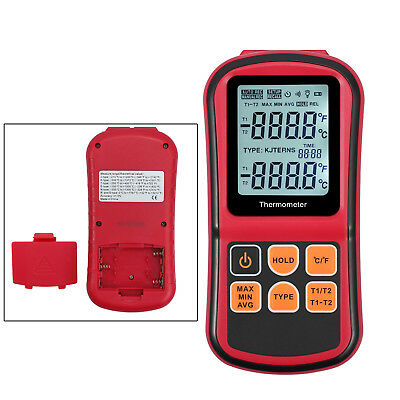 LCD Dual-channel Digital Temperature Thermometer K-Type Thermocouple  Backlight