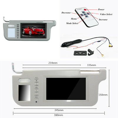 """7"""" Car Sun Visor Monitor 2Channel Video Rearview Mirror for DVD Player Left Side"""
