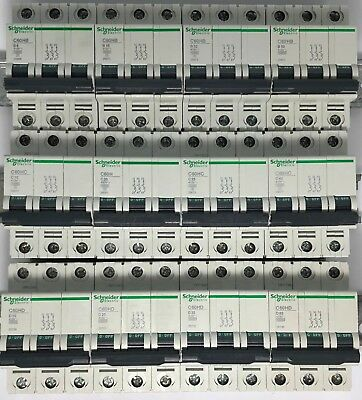 Schneider Merlin Gerin Multi 9 C60H Type B C D Triple Pole 3 Phase MCB Breaker