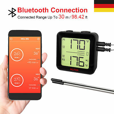 Grill Thermometer Bluetooth Grillthermometer BBQ Fleischthermometer 2 Probes DE