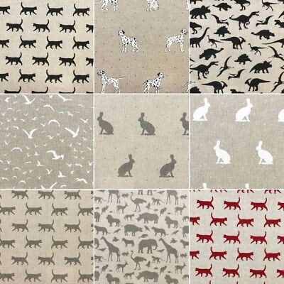 Cotton Rich Linen Look Fabric Curtain Upholstery Cushion Pet Animals Collection
