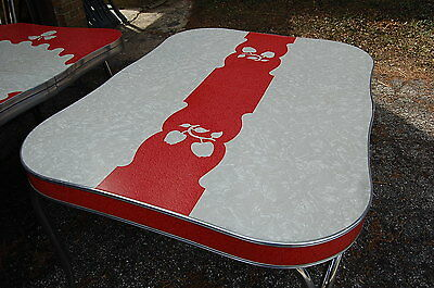 Vintage Grey/Red  Cracked Ice Formica Table with Chrome legs Apple Designs