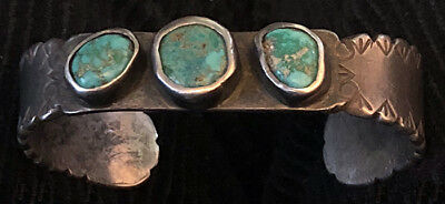 Important 1920s Ingot Hand Constructed, Stamped, Chiselled 3 Turquoise Bracelet