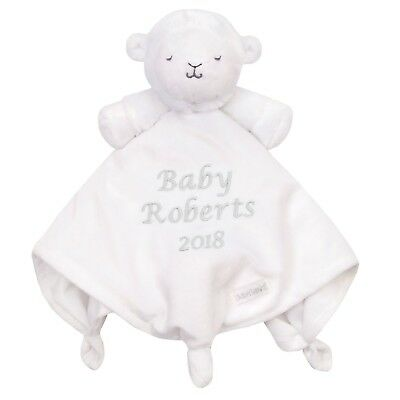 Personalised Lamb Comforter Embroidered Baby White Baby Newborn Gift Silver