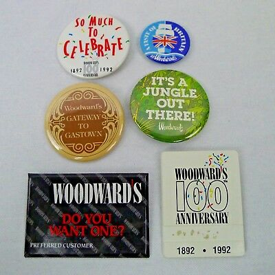 6 Woodward's Pin Back Buttons Name Tag 70's to 90's Defunct Dept. Store Canada
