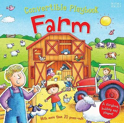 Miles Kelly Convertible Farm 3 in 1 Book Playmat and Toy for Children