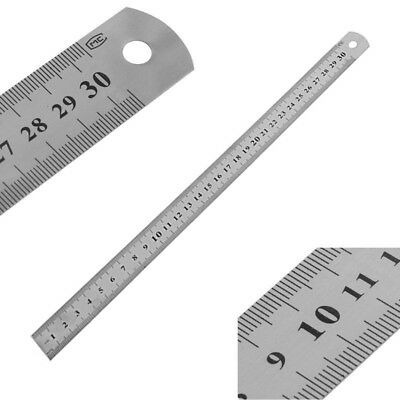 3Size Ruler Stainless Steel Pocket Pouch Metric Measurement Double Side Straight
