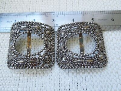 Pair of Antique French Cut Steel Shoe Buckles Marked France Individual Rivets