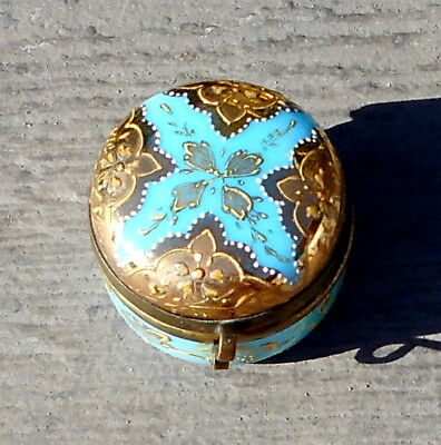 Antique Victorian Heavy Gold Enameled French Blue Opaline Glass Patch Box