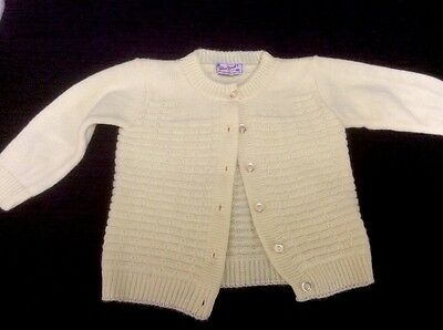Vintage Infant Sweater By Bluebird.  Yellow Cardigan.  Knit.