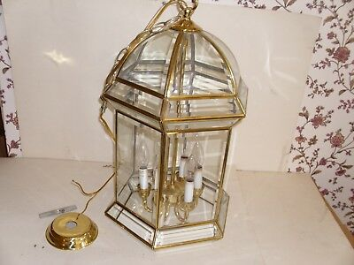 Large Beveled Glass/brass 6 Candle Carriage Lantern Hanging Light Fixture