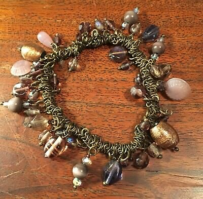 Purple Bead And Brass Metal Bracelet Ethnic Vintage