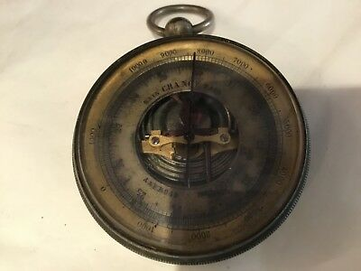 Rare Antique Authentic & Signed Aneroid Pocket Barometer Must See No Reserve