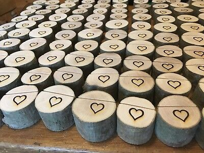 60x Rustic Wedding Name Place Card Holders Table Quality Tree Wood